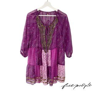 Free People Beaded Lace Patchwork Tunic